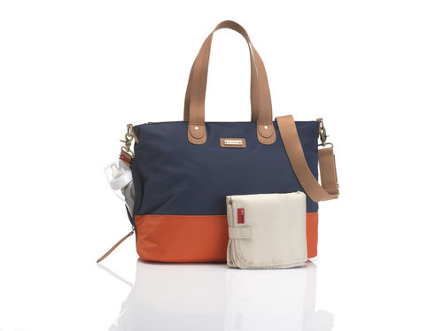 "STORKSAK Wickeltasche ""TOTE"" navy/orange"